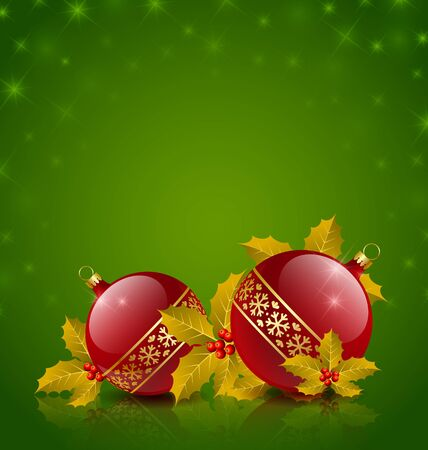 Christmas balls with holly on starry green background Vector