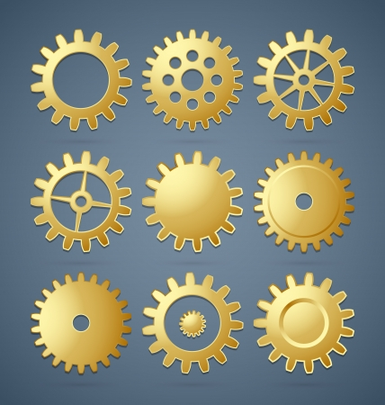 differently: Set of golden differently shaped cogwheels
