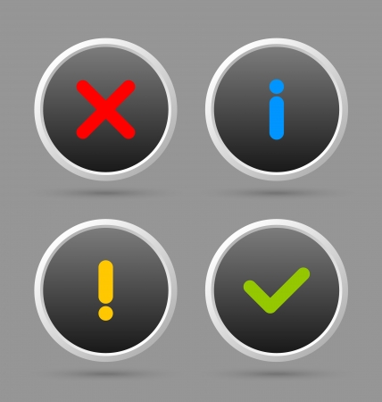 Notificación adecuados para el diseño web personalizado y con fines informáticos iconos Ilustración de vector