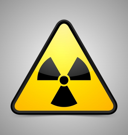 gamma: Nuclear symbol isolated on grey background
