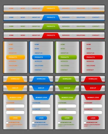 Horizontale en verticale navigatie menu en website-elementen