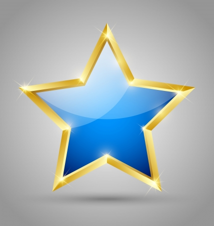Blue glossy golden star isolated on grey background