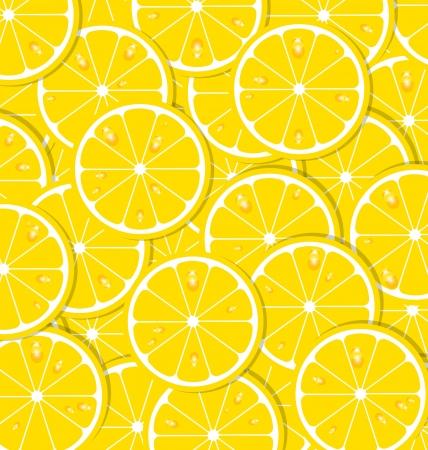 Lemon slices with juice document background  イラスト・ベクター素材
