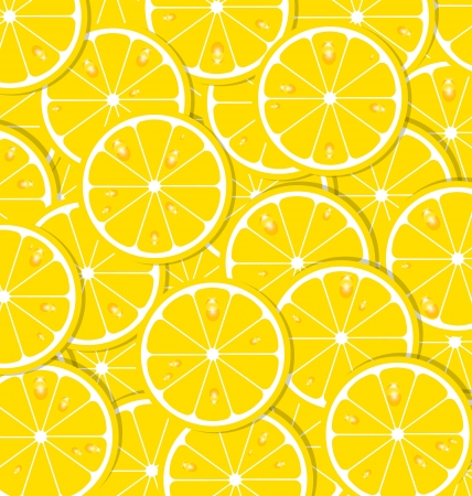sliced fruit: Lemon slices with juice document background Illustration