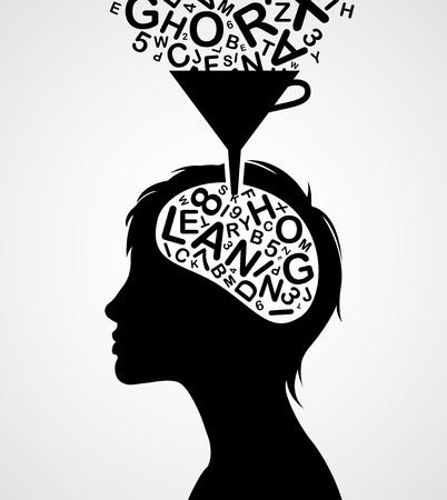 cerebro blanco y negro: Silueta r�pido aprendizaje mujer aislada en el fondo blanco