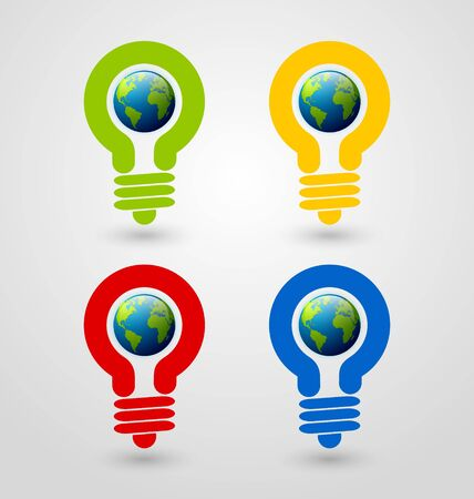 save the planet: Set of ecology and saving energy icons with light bulb and planet Earth