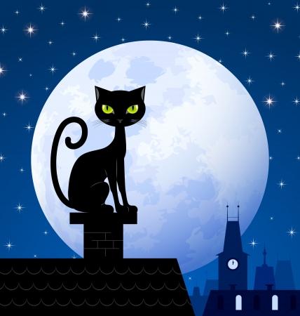 Zwarte kat op schoorsteen met maan stad en sterrenhemel op de achtergrond