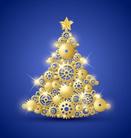 Kerstboom gemaakt van gouden tandwielen en versierd met ster op de top Stock Illustratie