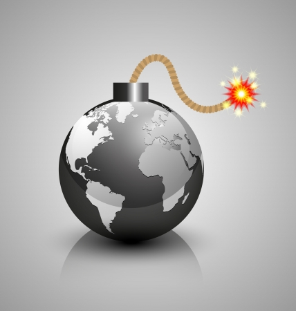 detonate: Burning world crisis bomb icon isolated on grey background