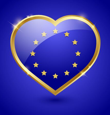 Glossy blue and golden european heart Stock Vector - 14960218