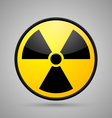 Nuclear symbol isolated on grey background Stock Vector - 14960217