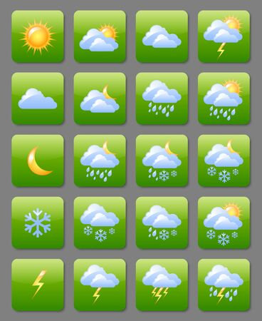 meteorology: Set of glossy weather icons useful for webdesign purposes