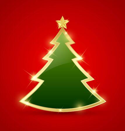 Eenvoudige gouden en glanzende kerstboom geïsoleerd op achtergrond