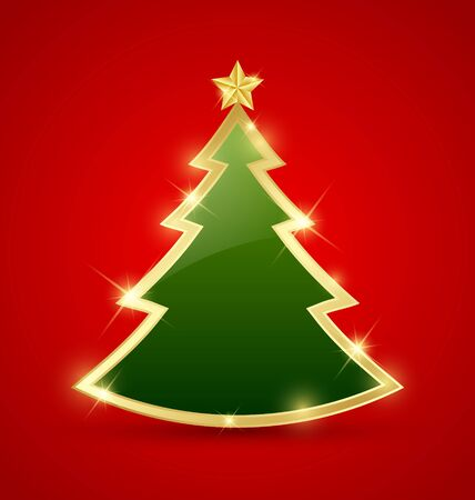 branch of a christmas tree: Simple golden and glossy Christmas tree isolated on background