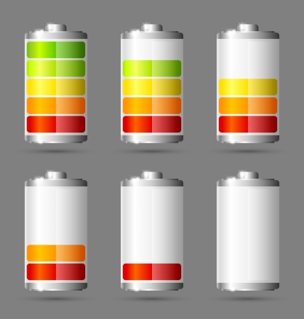 Different states of charged battery icons