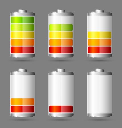 Verschillende staten van de opgeladen batterij iconen