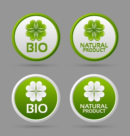 Bio and natural product badge icons isolated on grey background Stock Vector - 15019130
