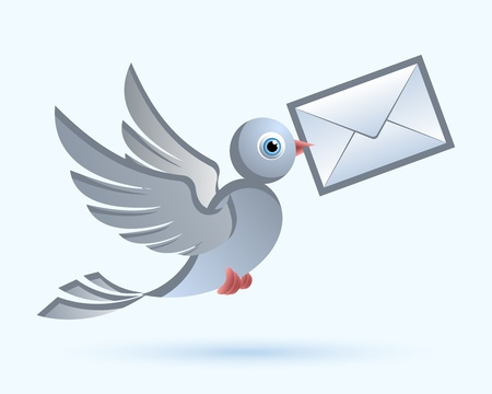 Homing postal pigeon with envelope Ilustracja