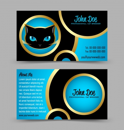 breeder: Front and back side of cat head theme business card isolated on grey background Illustration