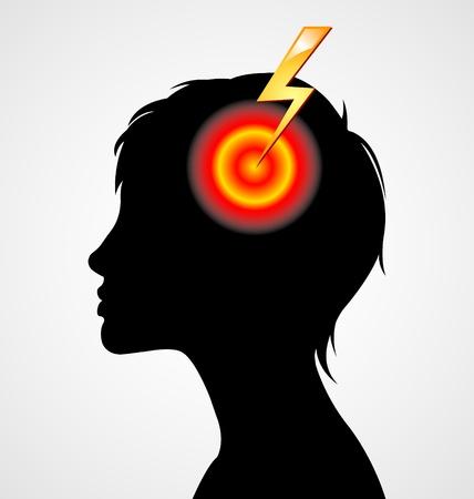 woman headache: Terrible headache woman silhouette isolated on white background