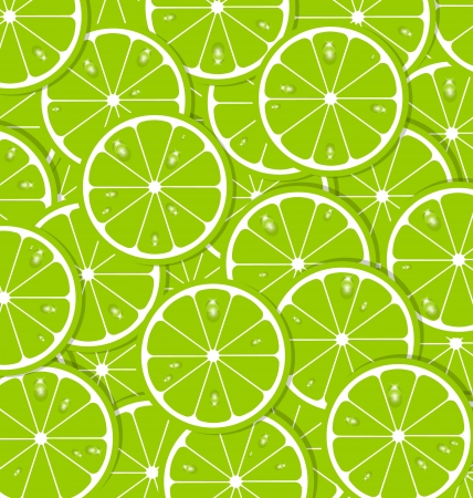Lime slices with juice document background Vector