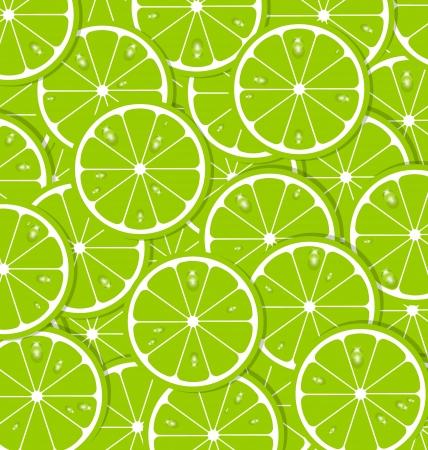 sliced fruit: Lime slices with juice document background Illustration