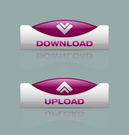 Glossy download and upload buttons useful for webdesign purposes Stock Vector - 15123683