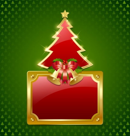 gold plaque: Christmas tree with bells and glossy plaque isolated on background
