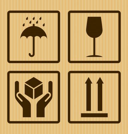 Cardboard symbols isolated on background