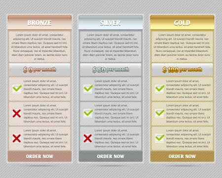 Easy customizable semitransparent subscription plan template elements