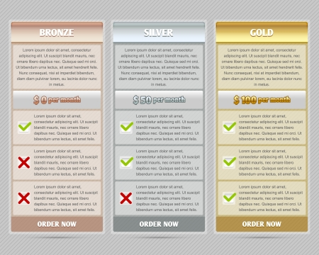 gold silver bronze: Easy customizable semitransparent subscription plan template elements