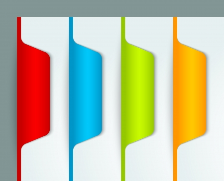 insert: Red blue green and yellow bookmark buttons isolated on background