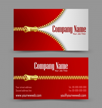 visiting card: Front and back side of zipper theme business card isolated on grey background