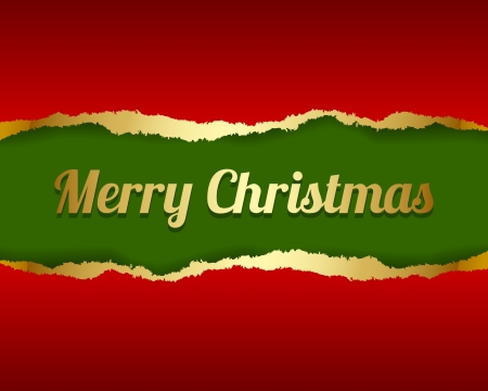 Ripped Merry Christmas card made of torn paper Stock Vector - 15226371