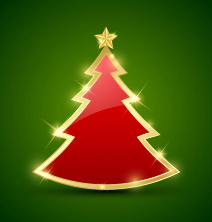 tree decorations: Simple golden and glossy Christmas tree isolated on background