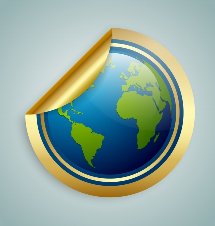 Golden glossy planet Earth sticker isolated on background Vector