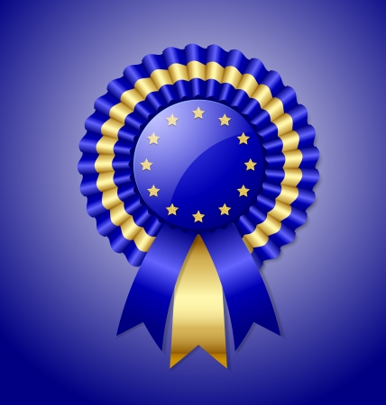 European rosette and ribbon isolated on blue background