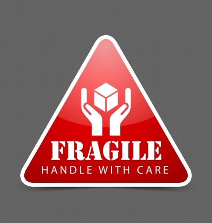 breakable: Glossy fragile icon isolated on dark grey background