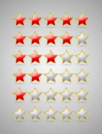 Set of rating stars isolated on grey background Stock Vector - 15301763