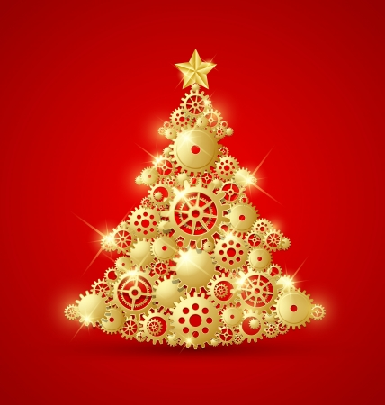 christmas postcard: Christmas tree made of golden cogwheels and decorated with star on top
