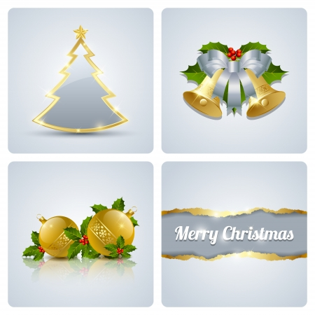 Original Christmas card made of four decorative elements Stock Vector - 15301738