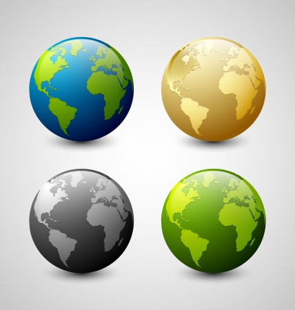 Set of Earth globe icons isolated on light grey background Vector