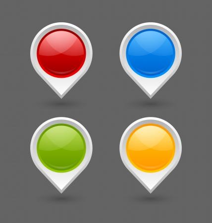 marcador: Conjunto de los punteros del mapa marca aisladas sobre fondo gris Vectores