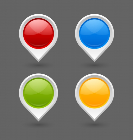 red pin: Set of map mark pointers isolated on grey background Illustration