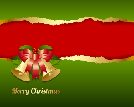 Ripped Merry Christmas card made of torn paper with decoration Vector