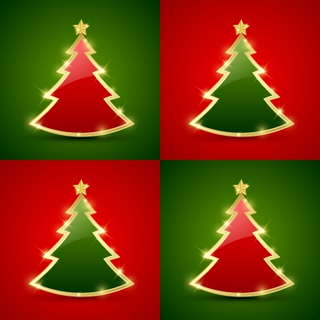 Simple golden and glossy Christmas tree seamless pattern Vector