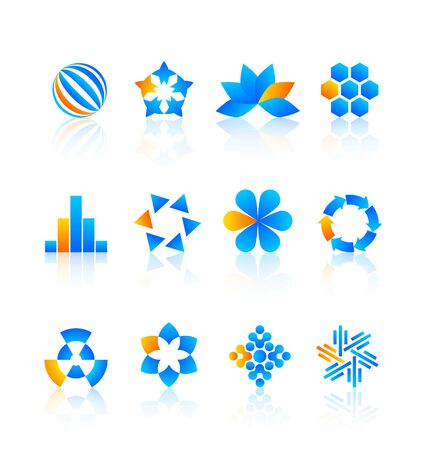 Blue and yellow logo design elements with reflections Stock Vector - 15327431