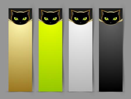 superstitious: Gatto nero banner testa isolato su sfondo grigio