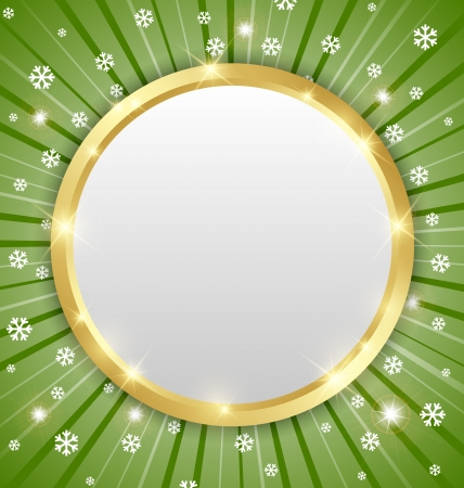 Christmas winter plaque on snowy background with beams Vector