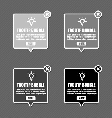 tooltip: Tooltip design elements with lightbulb and closing cross in shades of grey color Illustration